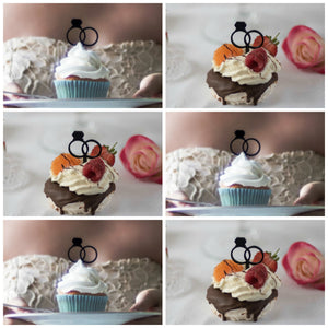 Wedding Cupcake Toppers, Engagement and Wedding Ring (FREE SHIPPING)