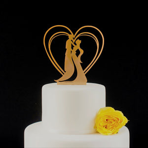 Romantic Art Nouveau Couple, Wedding Cake Topper (FREE SHIPPING)