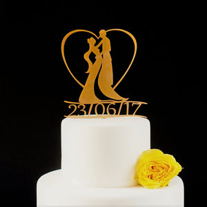 Art Nouveau Wedding Cake Topper, Date Included