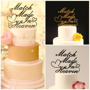 Match made in heaven wedding cake topper