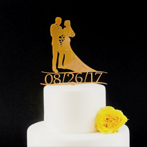 Wedding Cake Toppers, Silhouette of Bride and Groom with Date included (FREE SHIPPING)