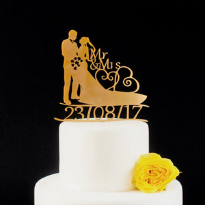 Traditional Bride and Groom Slihouette Wedding Cake Topper with Custom Date Detail