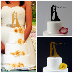 Elegant Bride and Groom Silhouette Wedding Cake Topper