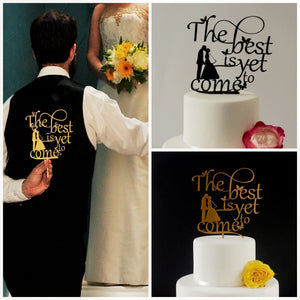 The Best is Yet to Come, Wedding Cake Topper with Butterfly detail (FREE SHIPPING)