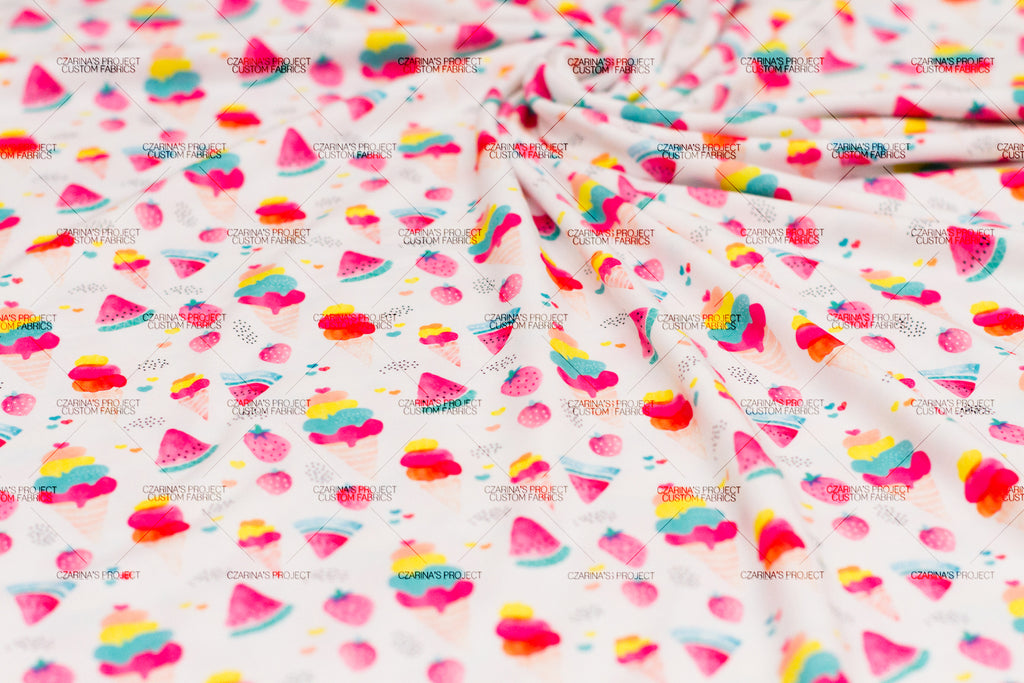 Retail: Spoonflower Fabric Base Modern Jersey (Ice Cream + Watermelon)