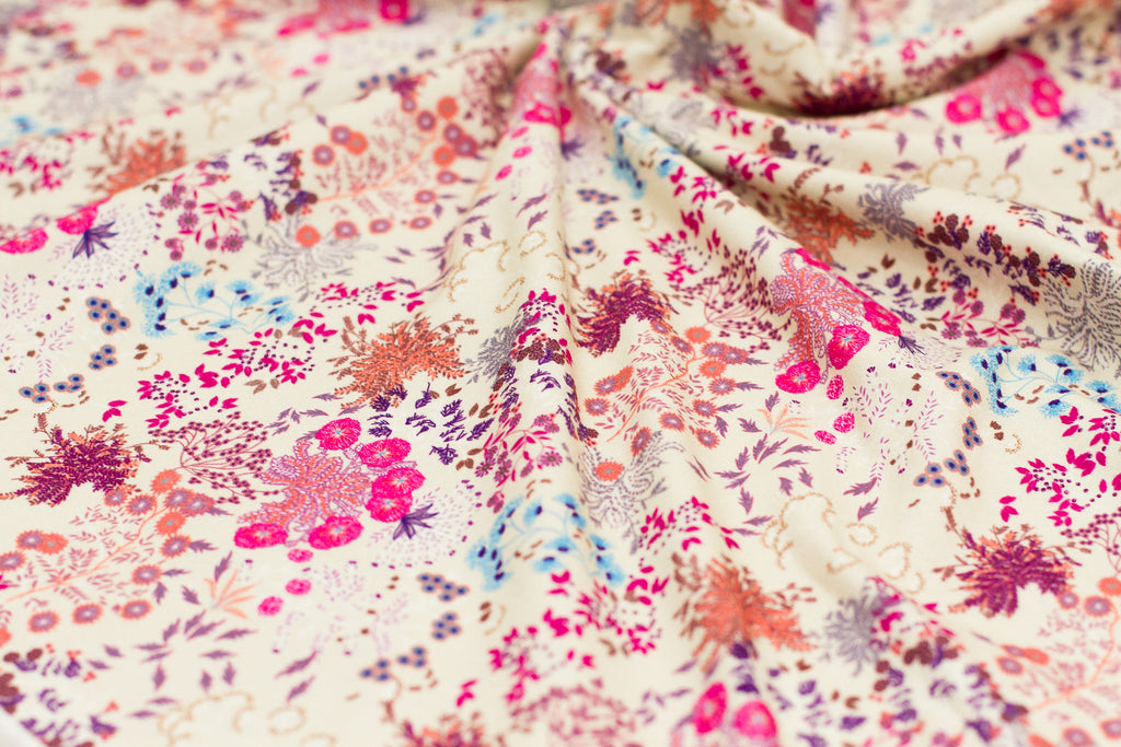 Retail - Whimsical Florals in Vanilla: pink floral hues (small scale)