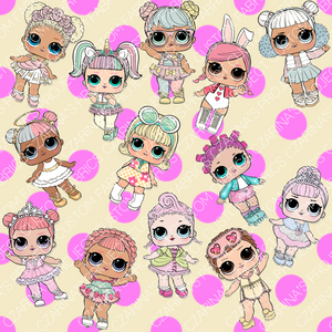 Retail - LOL Doll Pink Dots on Yellow Main Fabric