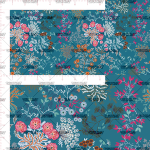 Preorder - Whimsical Florals in Teal (big scale)