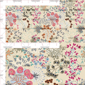 Preorder - Whimsical Florals in Vanilla: green color hues (small scale)