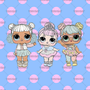 Retail - LOL Doll Pink Dots on Blue Panel