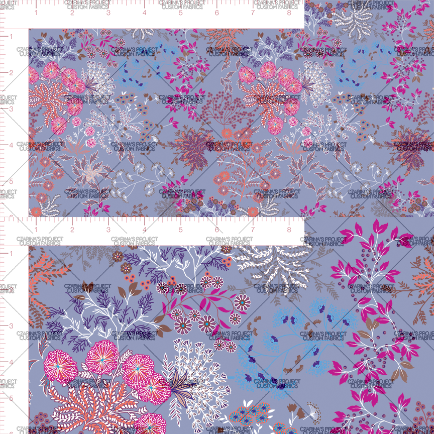 Retail- Whimsical Florals in Deep Periwinkle (small scale)