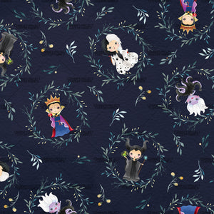 Retail - Villains Character Tossed on Dark Blue Main Fabric