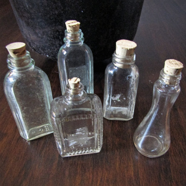 several corked potion bottles