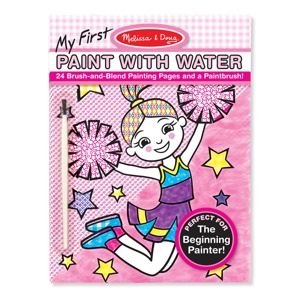 My First Paint With Water Kids' Art Pad With Paintbrush - Cheerleaders, Flowers, Fairies, and More