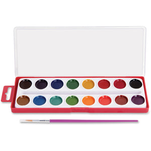 16-Color Washable Watercolors with Brush
