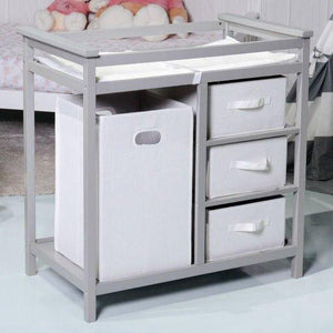 Gray Infant Baby Changing Table w/3 Basket Hamper Diaper Storage Nursery