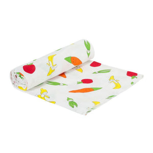 Baby Muslin Swaddle Blanket- Fruit and Veggie Print