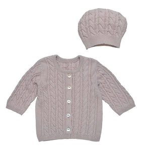 Cable Knit Cardigan & Hat Set - Cocoa