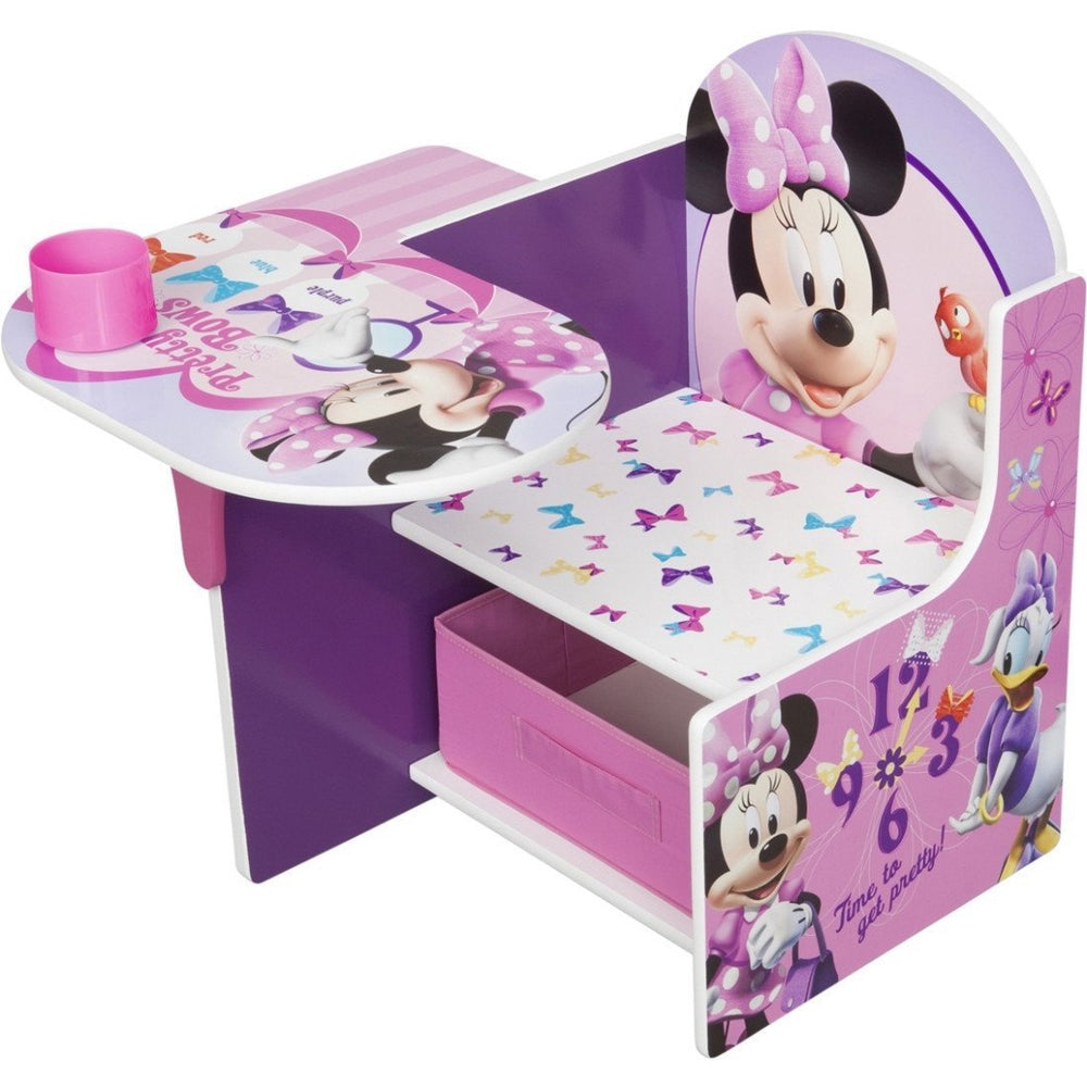 Children Minnie Mouse Chair Desk with Storage Bin