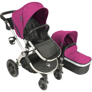 Letour Avant Bassinet and Stroller in Pink on a Silver Frame