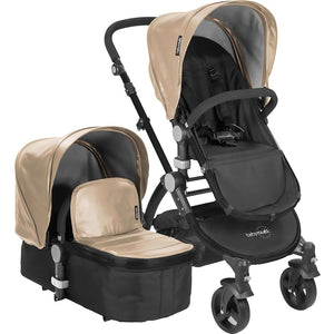 Letour II Bassinet and Stroller in Tan Leatherette on a Black Frame