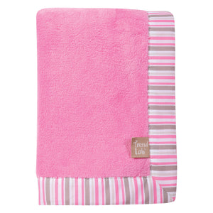 Lily Stripe Framed Coral Fleece Baby Blanket