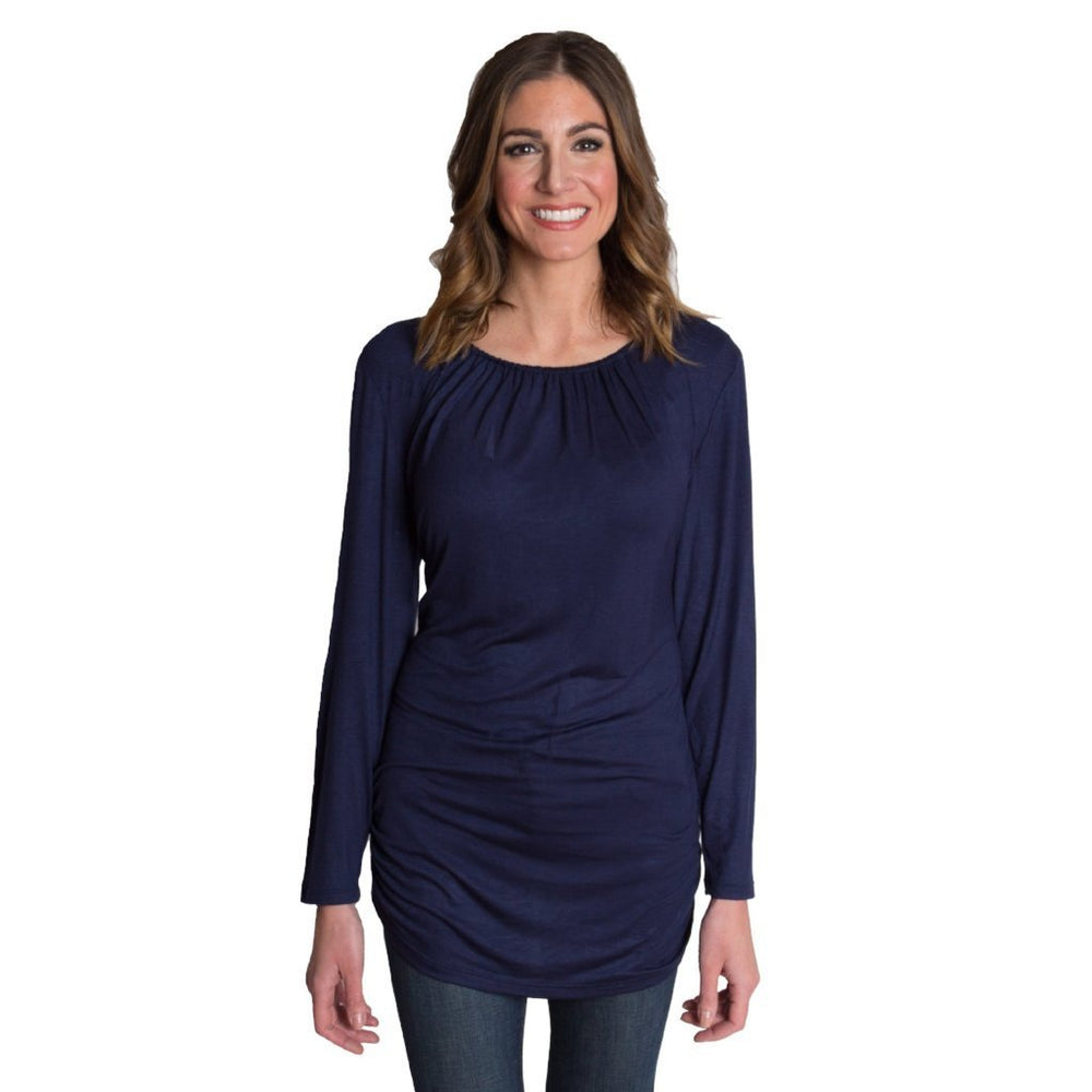 Luxe Long Sleeve Nursing Top - Navy