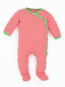 Organic Cotton Unisex Baby Holiday Candy Cane Stripe Side Snap Footies