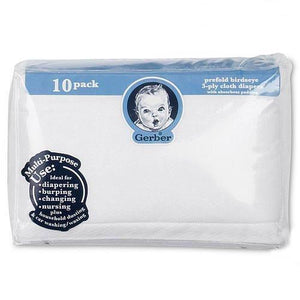 Prefold Birdseye 3-Ply Cloth Diapers - 10pk