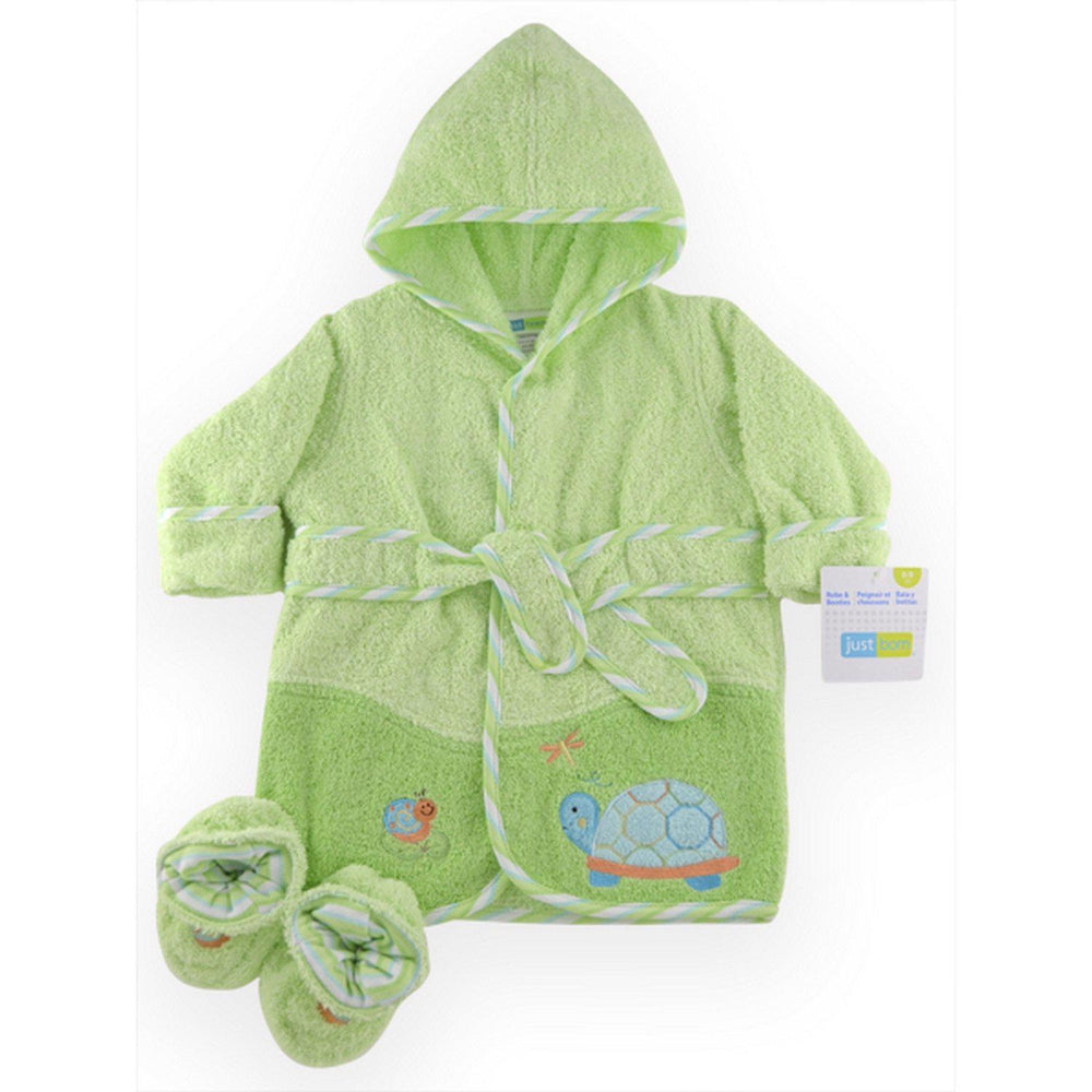 Robe & Bootie Set Woven Terry - Sage Turtle