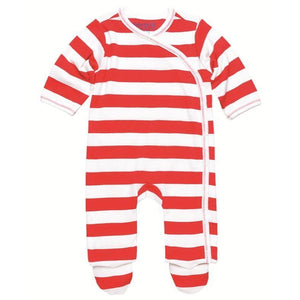 Side Snap Footie - Red Rugby Stripe