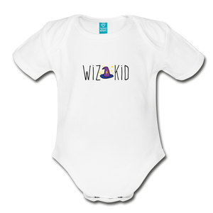 Wiz Kid Organic Short Sleeve Baby Bodysuit - white