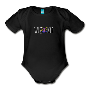 Wiz Kid (dark) Organic Short Sleeve Baby Bodysuit - black