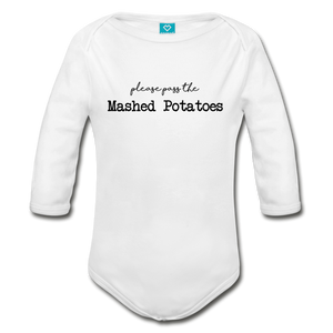 Mashed Potatoes Organic Long Sleeve Baby Bodysuit - white