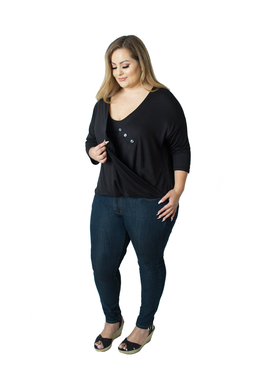 Talia Nursing Top - Black