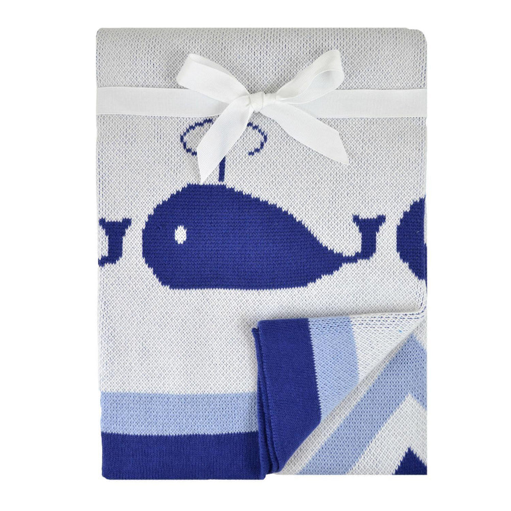 Whales Jacquard Sweater Blanket - Navy