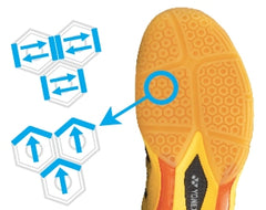 Hexagrip technology for badminton shoes