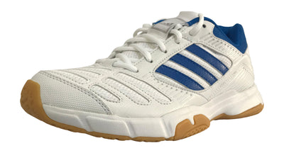 Adidas BT Boom Badminton Shoes (White/Blue) - Badminton Warehouse