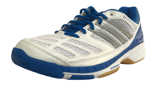 Adidas BT Feather Badminton Shoes (White/Silver/Blue) - Badminton Warehouse
