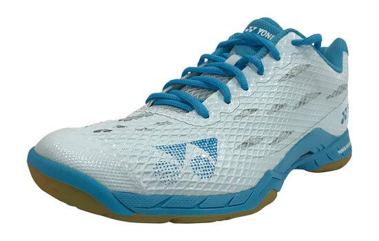 Yonex Aerus LX Women's Badminton Shoe in white and blue color available on sale at Badminton Warehouse