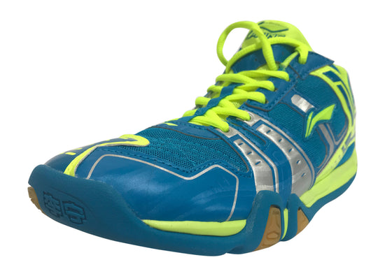 LI NING BADMINTON SHOES [BLUE] AYTJ073-4 (Wide) unisex badminton shoe in blue and yellow color on sale at Badminton Warehouse