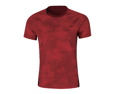Li ning Men's badminton shirt in red color available on sale at Badminton Warehouse