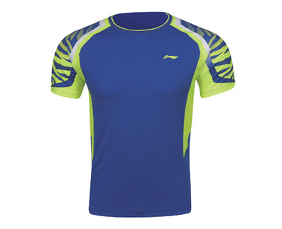 Li-Ning Men's Badminton Shirt in blue and yellow color available on sale at Badminton Warehouse