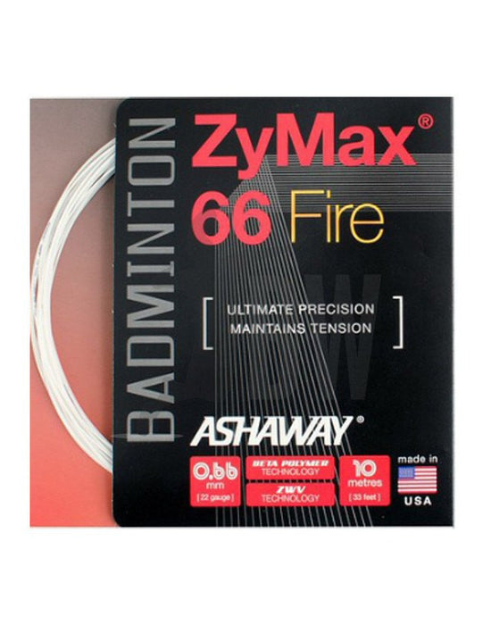 Ashaway ZyMax 66 Fire (0.66mm) Badminton String  (Orange or White) - Badminton Warehouse