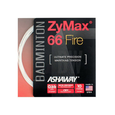 Ashaway ZyMax 66 Fire (0.66mm) Badminton String  (Orange Or White)