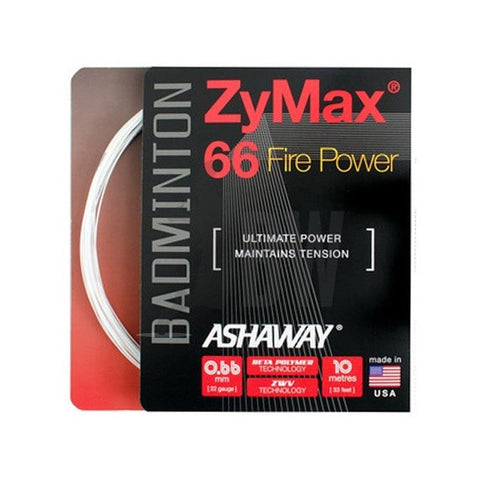 Ashaway ZyMax 66 Fire Power (0.66mm) Badminton String (Orange Or White)