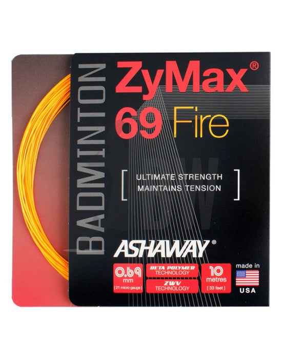 Ashaway ZyMax 69 Fire (0.69mm) Badminton String (Orange or White) - Badminton Warehouse