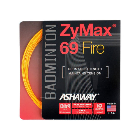 Ashaway ZyMax 69 Fire (0.69mm) Badminton String (Orange Or White)