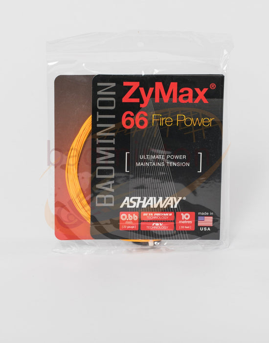 Ashaway ZyMax 66 Fire Power (0.66mm) Badminton String (Orange or White) - Badminton Warehouse