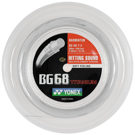 Yonex BG 68 Ti Badminton Reel in white on sale Badminton Warehouse